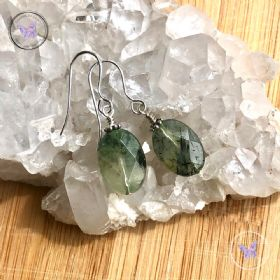 Prehnite Facet Oval Earrings